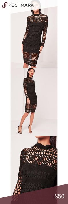 """Missguided Black Lace High Neck Midi Dress Missguided Black Lace High Neck Midi Dress.  100% Polyester.  Zip back closure.  Approx 15"""" armpit to armpit, approx 40"""" length.  NWT.  D3. Missguided Dresses Midi"""