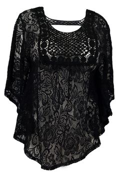 eVogues Sheer Crochet Lace Poncho Top at Amazon Women's Clothing store: Fashion T Shirts