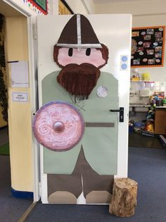 Our Viking door protector. Viking Shield, Viking Age, School Displays, Classroom Displays, Class Decoration, School Decorations, Classroom Door, Classroom Themes, Vikings Ks2