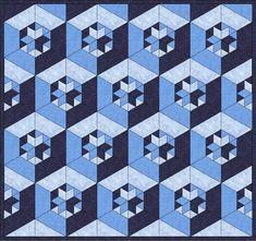 Quilting Tutorials, Quilting Projects, Quilting Designs, Bargello Patterns, Paper Piecing Patterns, Geometric Quilt, Hexagon Quilt, Tumbling Blocks Quilt, Quilt Blocks