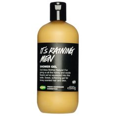 It's Raining Men shower gel - When your skin's crying out for some TLC, It's Raining Men will come to the rescue. God bless Mother Nature for providing all the honey we pack into our luscious gel that nurtures as it washes. Honey is used for its many benefits for the skin. A natural antiseptic, it soothes and helps it retain moisture. We also add softening rosehip oil for good measure, while bergamot and sweet wild orange oils add brightness and lift the mood