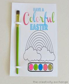 Free printable kid's watercolor card/favor.  One for Easter & one for Birthdays.  Just color in circles with washable markers and they turn into watercolors when wet. (The Creativity Exchange)