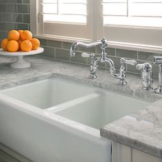 super white granite, beautiful subway tile, farmhouse sink..... Love this for kitchen remodel