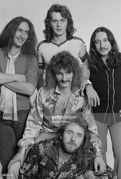 British rock group Uriah Heep, 13th March 1975. Clockwise from bottom: drummer Lee Kerslake, singer David Byron (1947 - 1985), keyboard and guitar player Ken Hensley, bassist John Wetton and guitarist Mick Box.