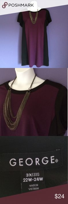 """Purple """"Color Block"""" Dress NWOT - This dress is perfect for work or any occasion. Pair with a layered necklace for more drama. Material:  83% Polyester/11% Rayon/6% Spandex ; Measurements:  Length - 39""""/Bust - 25"""" George Dresses Midi"""