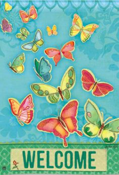 Sweet Flight Butterfly House Flag Welcome Spring by Breeze Art x