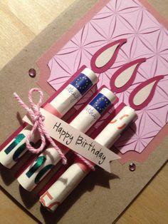 Geburtstagskarte selber basteln, Geldscheine als Kerzen, kreative Idee zum Nachmachen