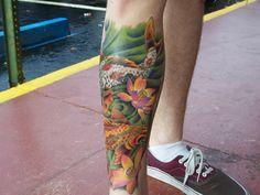 koi, fish, lily, pond, calve tattoo