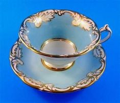 Light Blue with Gold Leaf Design Paragon Tea Cup & Saucer Set - Different Marks by Terese Vernita