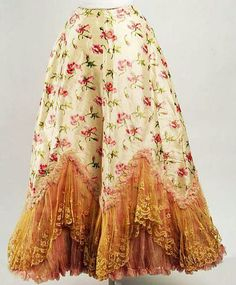 A gorgeous floral print, lace adorned silk Petticoat, France, ca. 1895-98, The Metropolitan Museum of Art.