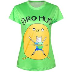 Green Ladies Crew Neck Adventure Time Jake Finn Printed T-shirt featuring polyvore, fashion, clothing, tops, t-shirts, green, green top, yellow tee, crewneck tee, crew neck t shirt and green tee