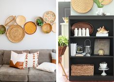 rattan baskets and wall art Rattan Basket, Baskets, 2018 Interior Trends, Decor Interior Design, Interior Decorating, Home Furniture, Bookcase, Shelves, Contemporary