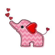 San Valentín elefante apliques máquina bordado diseño por SewChaCha, $3.00