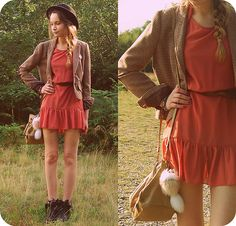 love everything!  side braid, hat, bare legs with ankle boots!  spring get here!