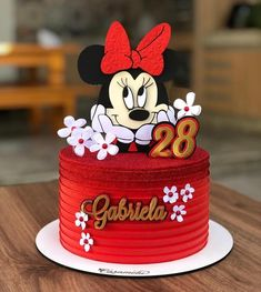 Mini Mouse Birthday Cake, Cute Birthday Cakes, Beautiful Birthday Cakes, Beautiful Cakes, Mickey And Minnie Cake, Minnie Mouse Cake, Whipped Cream Cakes, Strawberry Shortcake Birthday, Cake Delivery