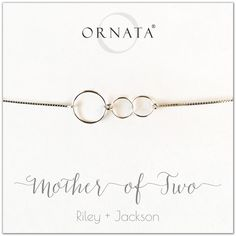 "c4c92f7b5 ""Mother of Two"" Sterling Silver Bolo Bracelet on Personalized Jewelry Card.  Cultured PearlsBest Gifts ..."