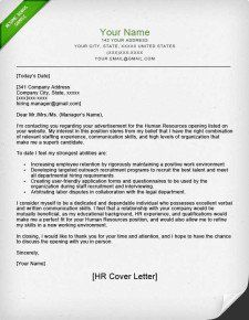 Cover Letter Template Human Resources Cover Letter Template