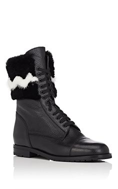 Manolo Blahnik Campchato Leather & Fur Combat Boots - 7.5