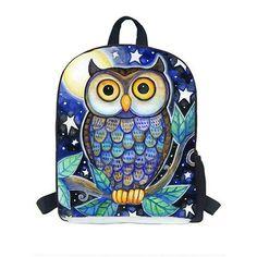 Hot 3d Owl Backpack Kindergarten Oxford Schoolbag for Boys Kids Cartoon Illustration Child Mochila Escolar Infantil 9 inch