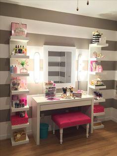 Makeup Room Ideas room DIY (Makeup room decor) Makeup Storage Ideas For Small Space - TAG: Diy Makeup vanity ideas, Diy makeup storage ideas, Makeup organization diy, Makeup desk Makeup Room Decor, Makeup Rooms, Sala Glam, Vanity Room, Ikea Vanity, Vanity Shelves, Diy Vanity Table, Makeup Shelves, Vanity Set