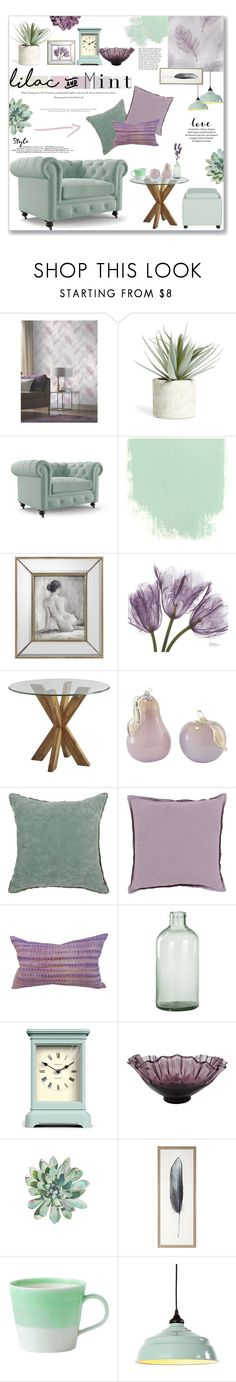 Lilac & Mint Decor by lauren-a-j-reid on Polyvore featuring interior, interiors, interior design, home, home decor, interior decorating, Joybird, Safavieh, Pier 1 Imports and Ballard Designs