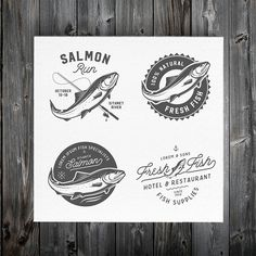 Vintage salmon logos & emblems by 1baranov on Creative Market