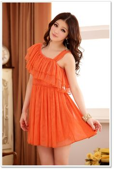 ad60cadf4 Buy Sweet Style Lotus Leaf Asymmetric Single Shoulder Dress Orange at Wish  - Shopping Made Fun