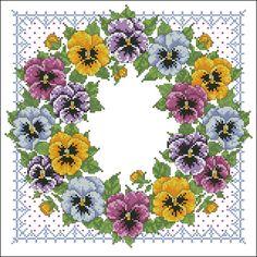 Cross Stitch Love, Beaded Cross Stitch, Cross Stitch Flowers, Cross Stitch Designs, Cross Stitch Embroidery, Cross Stitch Patterns, Christmas Embroidery Patterns, Pansies, Cross Stitching
