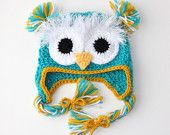 OWL BABY HAT - newborn -  baby -  photo prop - gift idea - wool/ acrylic - Made To Order $29