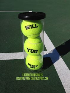 How adorable is this tennis proposal? Made with our custom tennis balls. What a … How adorable is this tennis proposal? Made with our custom tennis balls. What a great proposal idea! Tennis Match, Sport Tennis, Tennis Crafts, Homecoming Proposal, Dance Proposal, Tennis Funny, Tennis Party, Tennis Workout, Tennis Quotes