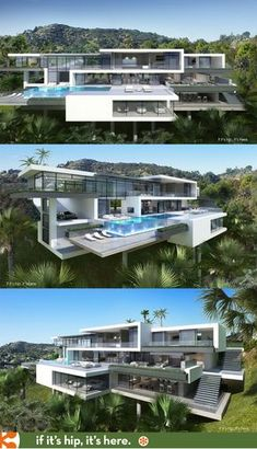Sunset Strip House with spillover pool and glassed in garage designed to sell property. Learn and see more at the link. Sunset Strip House with. Dream House Exterior, Dream House Plans, Garage Design, Exterior Design, Futuristic Architecture, Architecture Design, Architecture Portfolio, Workshop Architecture, Rome Architecture