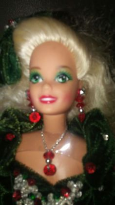 Happy Holiday Barbie out of box.