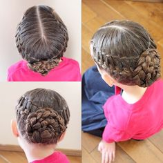 """B's hair for church today. 2 waterfall twists into 2 French braids into a braided bun.  Twinning with @braidsbyelana and the hairstyle is inspired by…"""