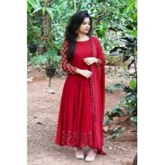 66 OFF-Opulent Red Colored Designer Partywear Heavy Cotton Long Kurti - Salwar Designs, Kurta Designs Women, Kurti Designs Party Wear, Churidar Neck Designs, Stylish Dress Designs, Dress Neck Designs, Designs For Dresses, Stylish Dresses, Fashion Dresses