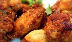 Cómo hacer Alitas de pollo con sabor a La India   Spicy Chicken Wings Pollo Tandoori, Tandoori Chicken, Meat Recipes, Chicken Wings, India, Ethnic Recipes, Food, Baked Chicken Marinade, Good Food