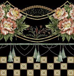 Border Pattern, Border Design, Paisley Art, Watercolor Flowers, Textile Design, Flower Art, Draw Flowers, Kamiz, Hand Painted