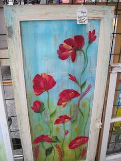 Poppies painted on old cabinet door Old window art - sunset Real Dragon Fly on Painted window! Old Window Art - Hot Air Ba. Old Window Art, Window Pane Art, Painted Window Panes, Window Screens, Old Window Projects, Window Ideas, Painting On Glass Windows, Old Cabinet Doors, Painted Doors