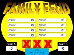 Screenshot of a yellow PowerPoint template for Family Feud  There are three templates here