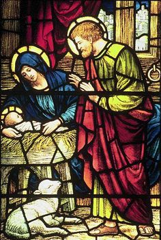 The Nativity. Jesus was most likely born in the warmer months of the year; here He is shown in a manger, a feeding trough for animals. There was no room for them anyplace else. It was Festival time and all inns were full. Stained Glass Art, Stained Glass Windows, Christmas Nativity, Merry Christmas, Christmas Tale, Xmas, O Holy Night, The Secret Book, Holy Family