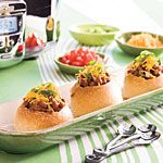 Chili in mini bread bowls from Southern Living magazine