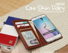 ARIUM COW SKIN DIARY FLIP CASE FOR GALAXY NOTE 4
