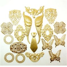 Assorted Raw Brass Muse, Brass Stampings, Brass Filigree, Wings, Butterflies, Leaves, Necktie, Wings measure 5.50 Inches