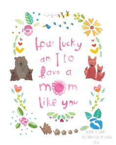 Let mom know how wonderful she is everyday with this happy art card for Mothers day! Measure 4x6 in and shipping is included!  Feel free to