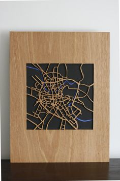 wooden map of the fine city of Norwich by WoodInArt on Etsy, £50.00