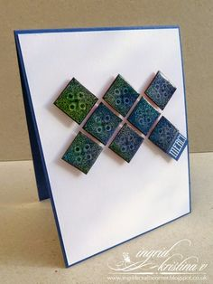 CAS card - handmade tiny tiles, triple heat embossing... visit my blog for more info! #ingridscraftscorner #cas #cardmaking #craft