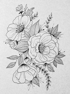 Flower art flower sketches, flower pattern drawing, floral drawing, p Flower Pattern Drawing, Pattern Sketch, Floral Drawing, Flower Patterns, Pencil Drawings Of Flowers, Flower Sketches, Art Drawings Sketches, Flower Tattoo Designs, Tattoo Floral