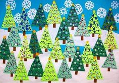 Give each person a triangle to decorate, put it together to create a Christmas scene!