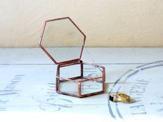 Hexagon shaped geometric glass box with a lid . Use as a jewelry box, ring bearer box or a wedding ring holder. Wedding Ring For Him, Ring Holder Wedding, Wedding Rings Vintage, Rustic Bridesmaids Gifts, Geometric Box, Tiffany, Ring Bearer Box, Wedding Boxes, Wedding Ideas