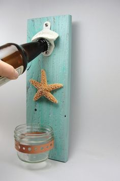 bottle opener wall mount starfish beach by EnchantingGardenArt