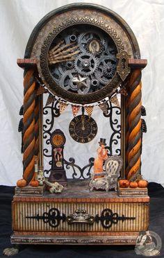 halloween clocks | Altered Steampunk Halloween Clock. | Mixed Media